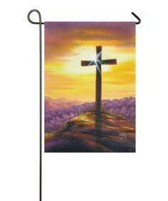 Look what I found on #zulily! Cross Sunset Garden Flag Set by Evergreen #zulilyfinds. $10.99