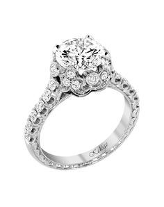 Platinum Vintage Round Cut Engagement Ring | Style KPR 758 by Jack Kelege |  http://trib.al/McgFeBF
