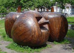 Wooden apples by Kees Franse at Heemraadssingel in Rotterdam #art