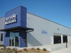 Allstar Motors building Warehouse Office, Warehouse Design, Facade Design, Exterior Design, Home Id, Industrial Door, Industrial Architecture, Factory Design, Church Design