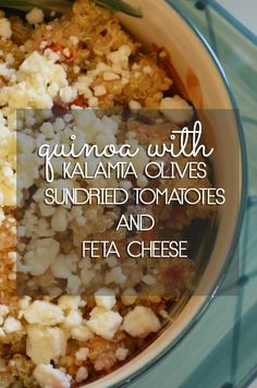 How to make Quinoa with Olives, Sundried Tomatoes and Feta Cheese.  It's so good, you'll want to eat the entire bowl!