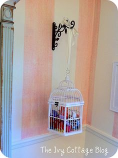 """For little girls room, birdcage filled with hair bows"" I need to do this with my own bows! Lol"