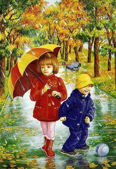 illustrations divers enfants 3 - Page 26 Umbrella Art, Under My Umbrella, Drawing For Kids, Art For Kids, Four Seasons Art, Art Mignon, Rain Art, Creation Photo, Autumn Scenes