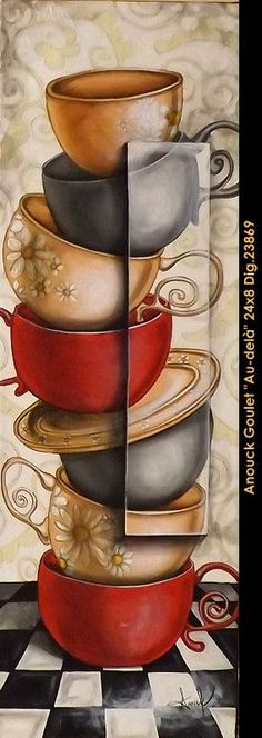 original painting by: Anouck Goulet available at Balcon d'art St-Lambert QC. Coffee Art, Coffee Time, Coffee Shop, Tea Time, Coffee Cups, Pause Café, Cup Art, Pintura Country, Country Paintings