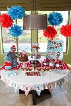 Sock monkey-themed baby shower - perfect for a girl or boy!