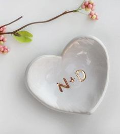 This would make the perfect wedding ring dish! Custom Monogram Heart Ring Dish by Modern Mud on Scoutmob Shoppe