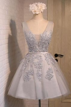 Sliver V Neck Applique Tulle Sexy Party prom dresses 2017 new style fashion evening gowns for teens girls