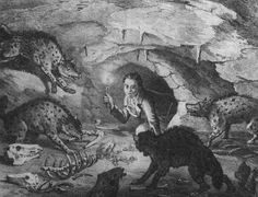 Fig.1. An imaginative drawing of William Buckland transported back to Pleistocene times at Kirkdale Cavern, Yorkshire - a hyaena den full of...