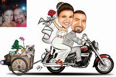 Desenho bem divertido feito para o Sandro !!! Ele adora sua moto e e está pronto para se mudar para casa nova !!! Parabéns casal ! http://www.ricksucaricaturas.com.br/caricatura-de-casal.html