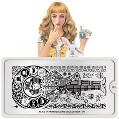 MoYou-London Stamping Nail Art Image Plate Alice Collection Meet Alice, Her imagination takes her stamping to another level! Come join her adventures in wonderland. Moyou Stamping, Nail Art Stamping Plates, Alice In Wonderland Nails, Adventures In Wonderland, London Nails, Nail Art Images, Image Plate, Latest Nail Art, Plate Design