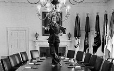 As she prepared to leave the White House to the Carters, Mrs. Ford told her presidential photographer David Hume Kennerly that she had always wanted to dance on the Cabinet Room table. So, just before she left, she did.