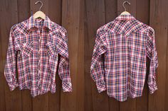 Red and Blue  Plaid Pearl Snap 1970s Shirt 1970s polyester