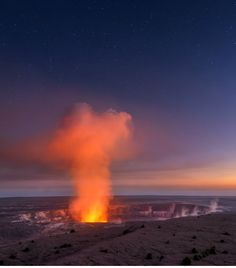 Evening with Pele, sunset at volcano, Big Island by Michael Brandt