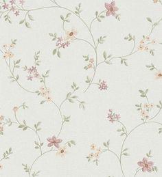Papel pintado flores vintage malva y verde estilo country - 1140788