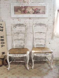 Painted French Farmhouse chairs - Painted Cottages on Etsy