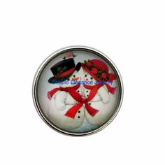 #510 Snowman Couple Christmas Snap 20mm for Snap Jewelry