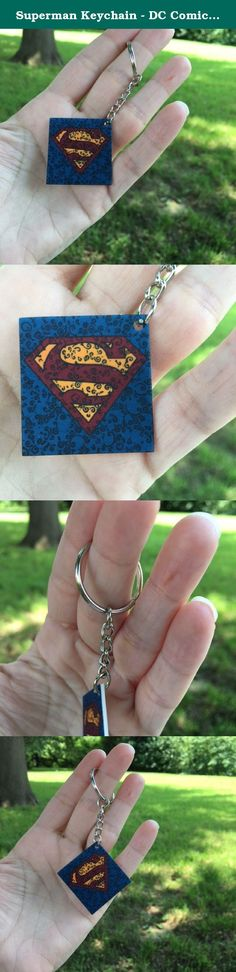 Superman Keychain - DC Comics Key Ring - Man of Steel Accessories - Swirl Art Key Charm - 1.5 x 1.5 Inch Square Key Chain. This Superman key chain is created from hand painted artwork. -Made of strong plastic -Sealed with acrylic sealer -Purchase includes charm and keyring -Shipped in bubble lined envelope www.amazon.com/handmade/ThePsychedelicSwirl.