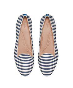 Slippers Theodore blue striped flats ballerina customizable - Chatelles