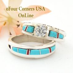 Four Corners USA Online - Size 9 Turquoise Red Coral Engagement Bridal Wedding Ring Set Native American Wilbert Muskett Jr WS-1649, $240.00 (http://stores.fourcornersusaonline.com/size-9-turquoise-red-coral-engagement-bridal-wedding-ring-set-native-american-wilbert-muskett-jr-ws-1649/)