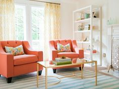 A Drab Living Room Gets Polished <em>and</em> Playful Look Jane!  Canteloupe chairs....my van is coming soon.  hehehe