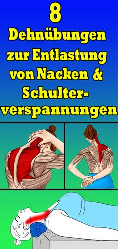 8 stretching exercises to relieve neck and shoulder tension - Yoga und Fitness - ENG Compound Exercises, Stretching Exercises, Yoga Workouts, Fitness Del Yoga, Health Fitness, Easy Fitness, Hiit, Shoulder Tension, Fitness Motivation