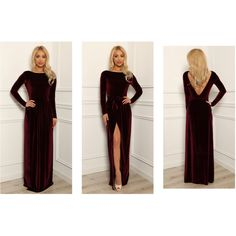 Dark Burgundy Velvet Maxi Elegant Dress Slit Open Back Long Sleeves ($110) ❤ liked on Polyvore featuring dresses, longsleeve dress, long-sleeve maxi dress, long sleeve maxi dress, long sleeve dress and open back dresses