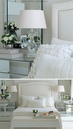 Bedroom Design White Furniture Lamps 44 New Ideas Home Decor Bedroom, Interior Design Living Room, Trendy Bedroom, Beautiful Bedrooms, Bedroom Romantic, Off White, Mirrored Furniture, White Furniture, White Lamps