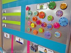 Names on magnets - kids use to sign in everyday and pick lunch (Attendance and lunch count all in  one solution!) and also move if go to the nurse or to speech so in an emergency the teacher knows who is out of the room.
