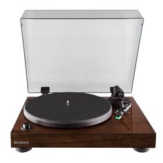 Fluance Elite High Fidelity Vinyl Turntable - Diamond Stylus, Belt Drive, Built-in Preamp with Powered Bookshelf Speakers - Class D Amplifier & aptX Bluetooth – Natural Walnut (Brown) Turntable Record Player, Record Players, Vinyl Turntable, Hifi Amplifier, Class D Amplifier, Solid Wood Cabinets, Cool Tech Gadgets, New Tablets, Dj Equipment
