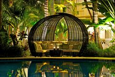 The amazing pool area cabana at The Inn at Key West!