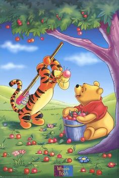 Art Print: Winnie the Pooh and Tigger Picking Apples : Tigger And Pooh, Winne The Pooh, Pooh Bear, Eeyore, Winnie The Pooh Pictures, Winnie The Pooh Quotes, Disney Winnie The Pooh, Guerrero Dragon, Cute Cartoon Wallpapers