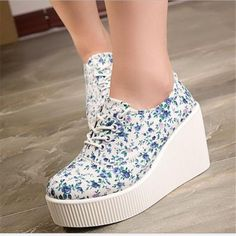 New 2017new hot Women shoes Canvas Shoes Women slip ons Shoes Woman Platform high heels Floral Spring Women Summer shoes #WomenSlip-OnsShoes