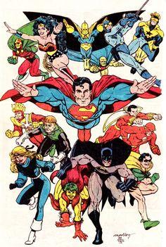 "comicbookvault: "" JUSTICE LEAGUE Pin-Up By Art Adams & Linda Medley (Nov. 1987) """
