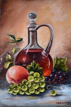 Still life with grapes, peach and wine. - Didar Erpek - - Still life with grapes, peach and wine. Wine Painting, Fruit Painting, Pour Painting, Painting Still Life, Still Life Art, Pictures To Paint, Art Pictures, Fruits Drawing, Art Village