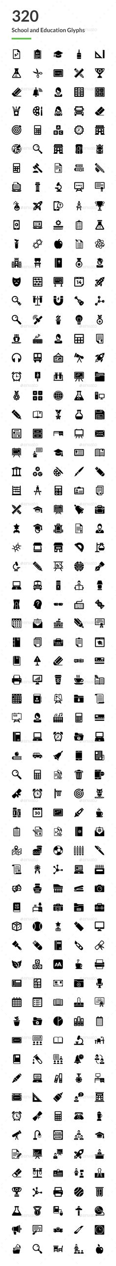 320 School and Education Glyph Icons