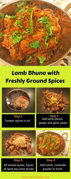 Indian Lamb Bhuna Recipe made with a basic homemade spice blend. Stepwise process with pictures makes this recipe easy to follow.
