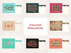 8 Assorted Holiday Postcards Set for Christmas by clapclapdesign