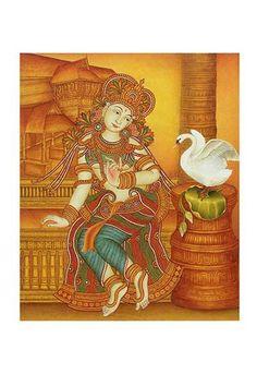 .::.Maadhyam.::. Mysore Painting, Kerala Mural Painting, Tanjore Painting, Indian Art Paintings, Fabric Painting, Dress Painting, Buddha Doodle, Hand Painted Sarees, Indian Folk Art