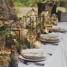 Teranium centerpieces- stuff with twigs, pine cones, acorns, candles, flowers or anything else to fit your Dreamy Woodland Wedding Table Décor Tips Enchanted Forest Wedding, Woodland Wedding, Enchanted Forest Decorations, Wedding Centerpieces, Wedding Decorations, Lantern Centerpieces, Wedding Lanterns, Decor Wedding, Chic Wedding