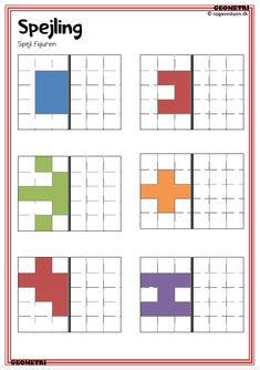 geometri opgaver indskoling, spejling, mønstre, matematikopgaver indskoling Visual Perception Activities, Occupational Therapy Activities, Fuse Bead Patterns, School Worksheets, Work Activities, Early Education, Activity Days, Brain Teasers, Home Schooling