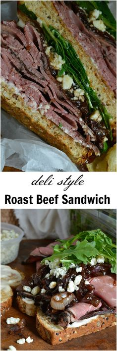 This Deli Style Roast Beef Sandwich is the best kind of lunch! Easy, delicious and flavorful. Deli roast beef, gorgonzola cheese, fresh greens and balsamic caramelized onions make this an amazing sandwich recipe! #OrganicBound #ad