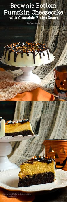 Brownie Bottom Pumpkin Cheesecake With Chocolate Fudge Sauce - A delicious combination of Fudgy brownies and creamy Pumpkin cheesecake in one dessert! Dress it up for Halloween or keep it simple to celebrate Thanksgiving or Fall. A great twist on Brownie Bottom Cheesecake with Fall flavors and Halloween cheer! #BakeFallFavorites @target @pillsbury [ad]