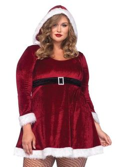 One piece Plus Size Sexy Santa costume Includes; Fur trimmed velvet hooded dress and attached empire waist belt with faux rhinestone buckle. Santa Dress, Santa Outfit, Plus Size Costume, Plus Size Halloween, Adult Halloween, Red Velvet Dress, Hooded Dress, Costume Dress, Holiday Dresses