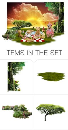 """""""Teddy bear picnic for mom bear"""" by beeblecat ❤ liked on Polyvore featuring art"""