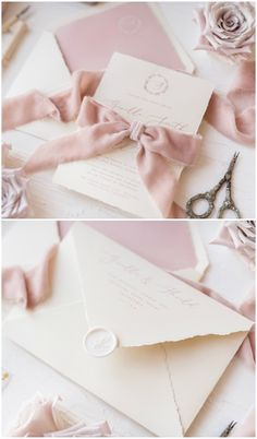 Calligraphy wedding invitation in pastel shades of creams and pink with beautiful velour ribbon. Unique & Elegant design for a romantic bride #wedding #handmade
