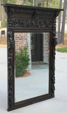 Antique French Oak BLACK FOREST Highly Carved GOTHIC Mantel Pier Wall Mirror  #BlackForest