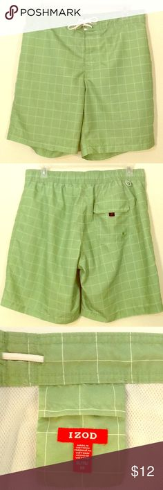 Izod men's swim shorts, lime green, size XL Like New pre-owned condition, lining and ties are perfect (see pics). Board short style. Actual waist is 36. Plaid in 100% polyester lime with thin, white lines. Ready for summer fun! Izod Shorts Athletic