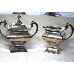 Vintage Art Deco Silver Plated Tea Set Silver Derby Co, Art Deco... ($295) ❤ liked on Polyvore featuring home and kitchen & dining