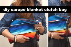 DIY sarape blanket clutch bag