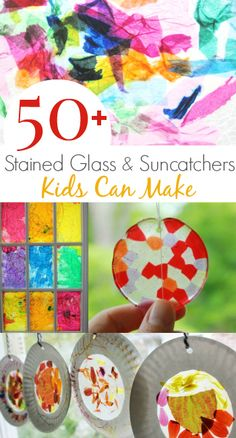 More than 50 stained glass and suncatcher crafts kids can make! Ecole Art, Contact Paper Stained Glass Craft, Stained Glass Crafts, Sun Catcher Craft, Kids Suncatcher Craft, Craft Activities For Kids, Preschool Art, Projects For Kids, Diy For Kids